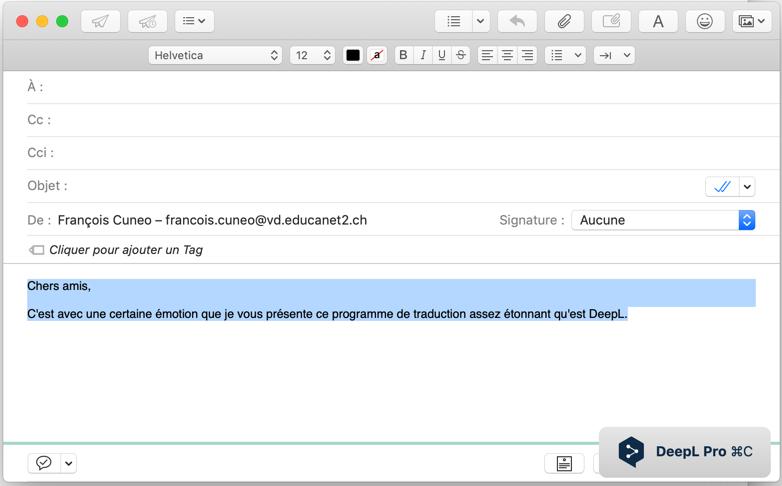 DeepL: la traduction de qualité est disponible nativement sur Mac – Le Blog  du Cuk
